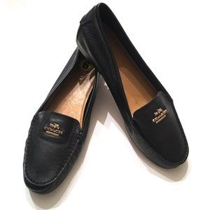 Coach Black Gold Leather Driving Shoe Flats Loafer